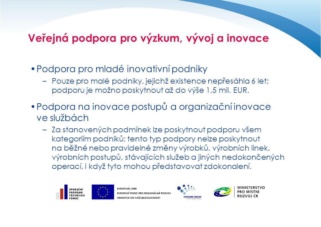 Veřejná podpora pro výzkum, vývoj a inovace Podpora pro mladé inovativní podniky –Pouze pro malé podniky, jejichž existence nepřesáhla 6 let; podporu je možno poskytnout až do výše 1,5 mil.