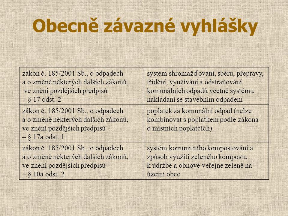 Obecně závazné vyhlášky zákon č. 185/2001 Sb., o odpadech a o změně některých dalších zákonů, ve znění pozdějších předpisů – § 17 odst. 2 systém shrom