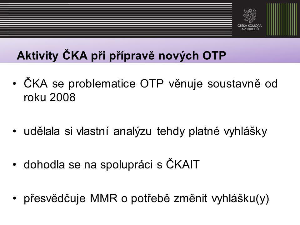Aktivity ČKA při přípravě nových OTP společně s ČKAIT vypracovala v roce 2009 pro MMR analýzu platné vyhlášky společně s ČKAIT chystá vlastní podklady pro změnu předpisů (mj.