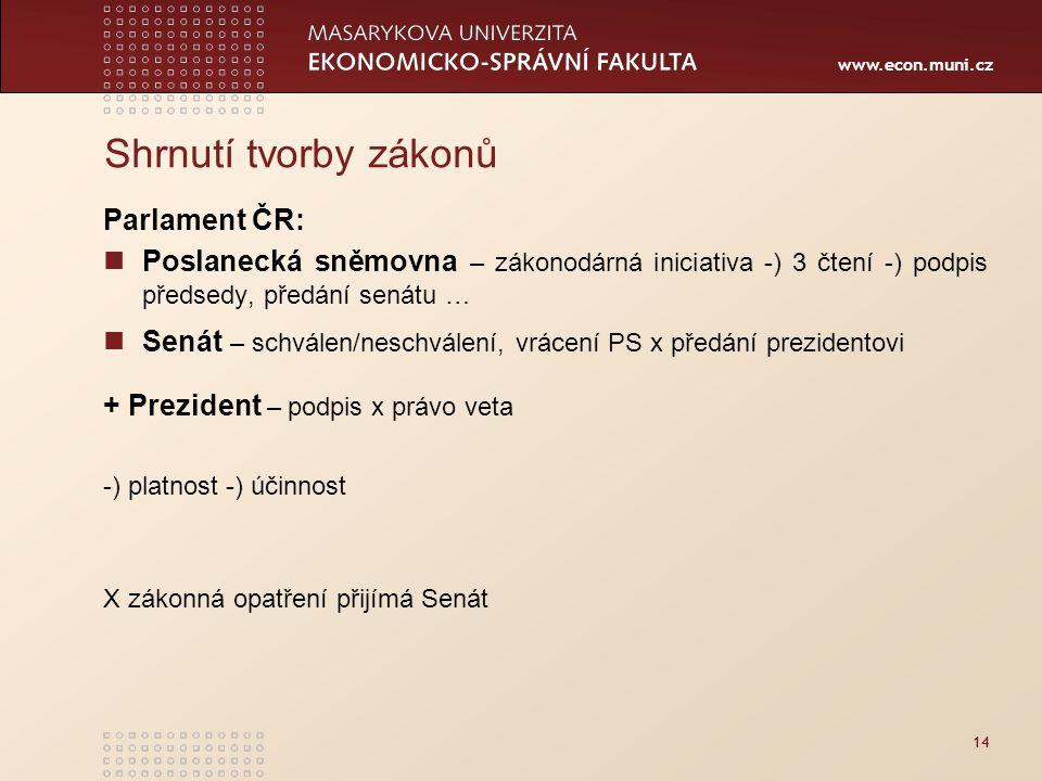 www.econ.muni.cz 14 Shrnutí tvorby zákonů Parlament ČR: Poslanecká sněmovna – zákonodárná iniciativa -) 3 čtení -) podpis předsedy, předání senátu … S