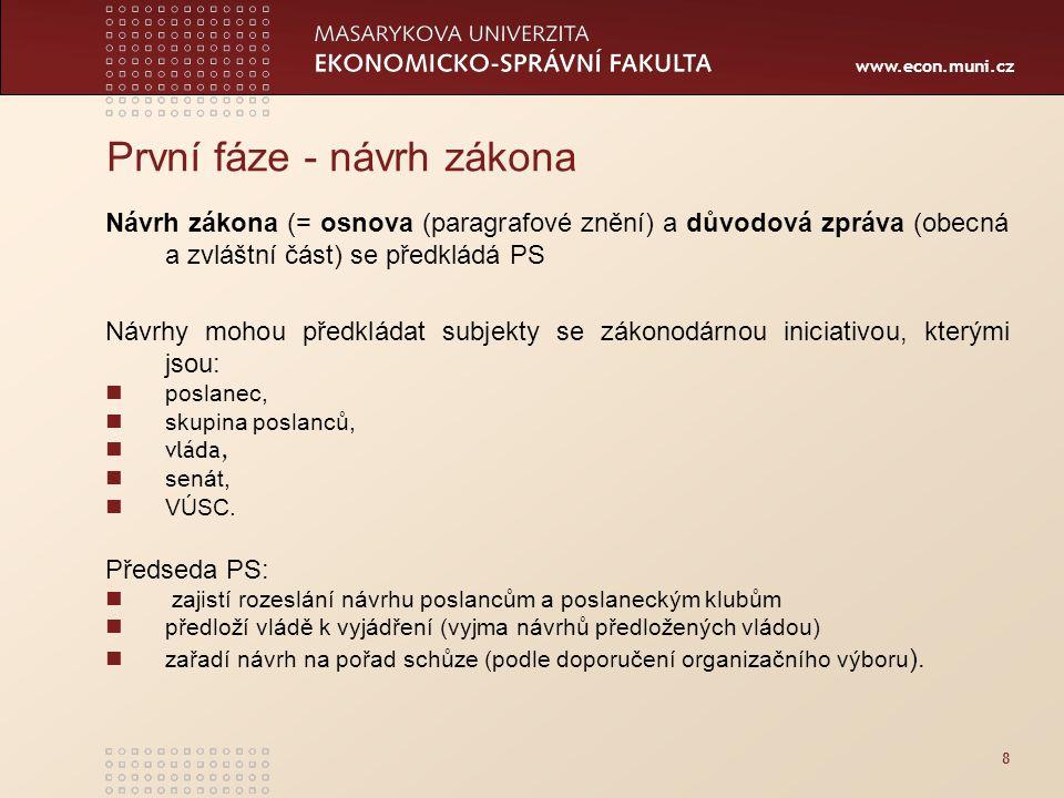 www.econ.muni.cz 8 První fáze - návrh zákona Návrh zákona (= osnova (paragrafové znění) a důvodová zpráva (obecná a zvláštní část) se předkládá PS Náv
