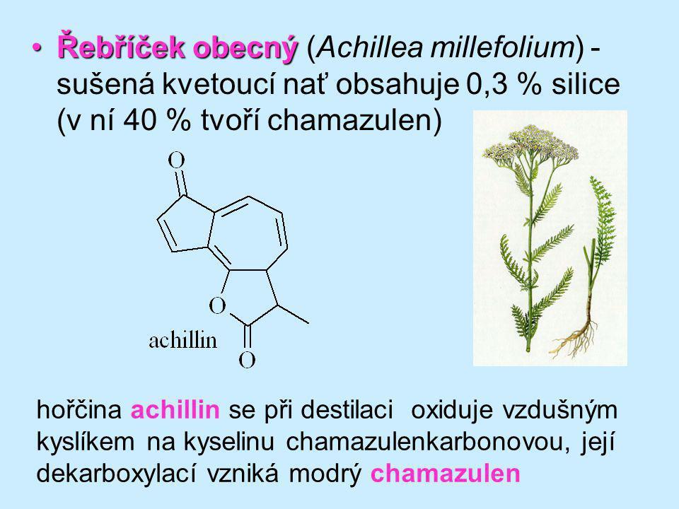 Řebříček obecnýŘebříček obecný (Achillea millefolium) - sušená kvetoucí nať obsahuje 0,3 % silice (v ní 40 % tvoří chamazulen) hořčina achillin se při