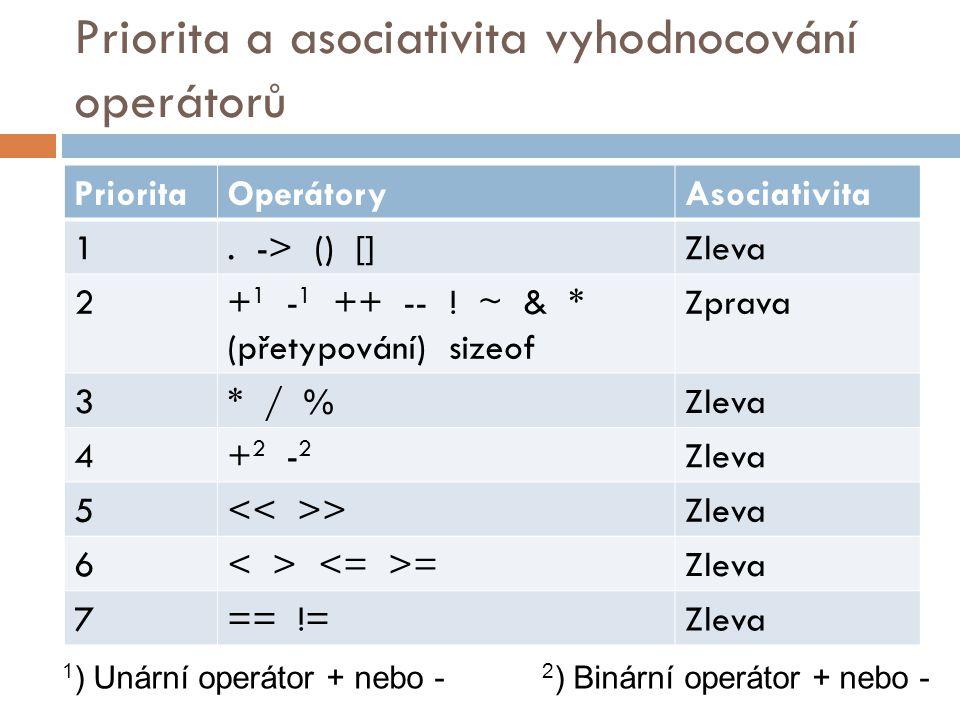 Priorita a asociativita vyhodnocování operátorů PrioritaOperátoryAsociativita 1. -> () []Zleva 2+ 1 - 1 ++ -- ! ~ & * (přetypování) sizeof Zprava 3* /