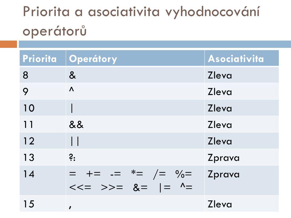 Priorita a asociativita vyhodnocování operátorů PrioritaOperátoryAsociativita 8&Zleva 9^ 10|Zleva 11&&Zleva 12||Zleva 13 :Zprava 14= += -= *= /= %= >= &= |= ^= Zprava 15,Zleva