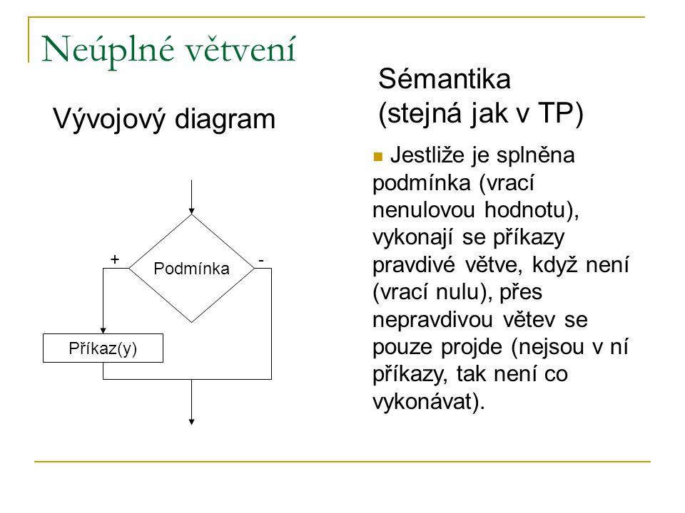 Neúplné větvení Podmínka Příkaz(y) Vývojový diagram +- Jestliže je splněna podmínka (vrací nenulovou hodnotu), vykonají se příkazy pravdivé větve, když není (vrací nulu), přes nepravdivou větev se pouze projde (nejsou v ní příkazy, tak není co vykonávat).