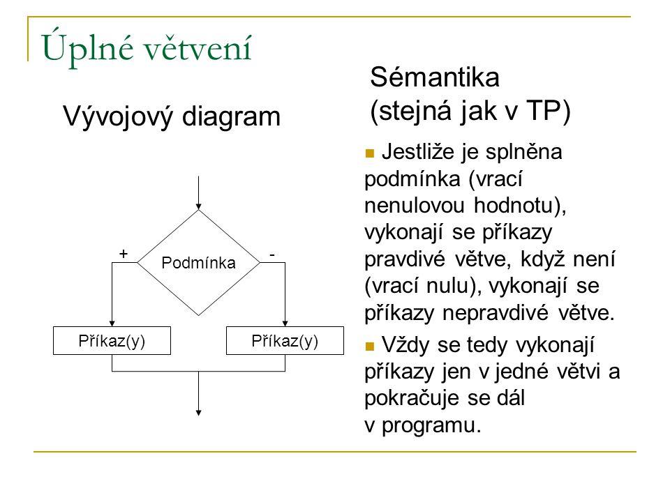 Úplné větvení Podmínka Příkaz(y) Vývojový diagram Jestliže je splněna podmínka (vrací nenulovou hodnotu), vykonají se příkazy pravdivé větve, když není (vrací nulu), vykonají se příkazy nepravdivé větve.