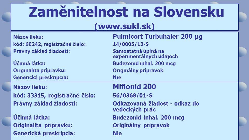 Názov lieku: Pulmicort Turbuhaler 200 µg kód: 69242, registračné číslo:14/0005/13-S Právny základ žiadosti:Samostatná úplná na experimentálnych údajoch Účinná látka:Budezonid inhal.