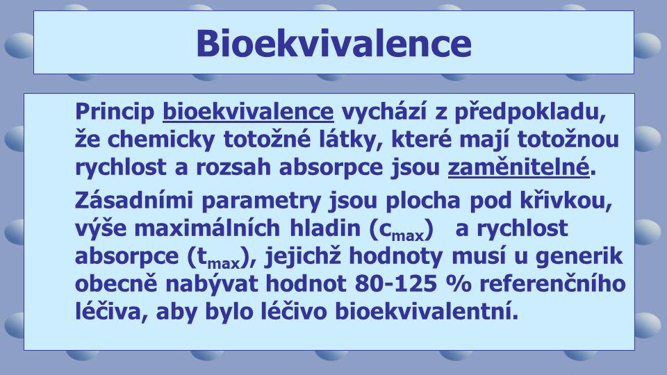 Princip bioekvivalence vychází z předpokladu, že chemicky totožné látky, které mají totožnou rychlost a rozsah absorpce jsou zaměnitelné.