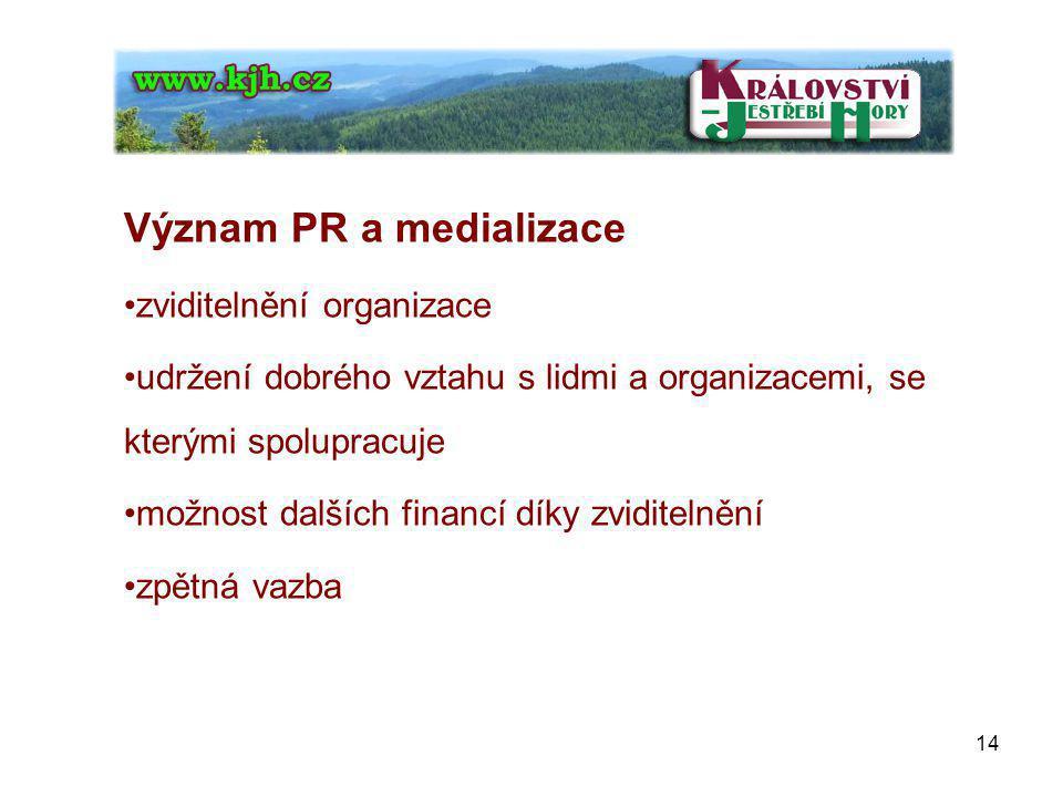 Význam PR a medializace zviditelnění organizace udržení dobrého vztahu s lidmi a organizacemi, se kterými spolupracuje možnost dalších financí díky zviditelnění zpětná vazba 14