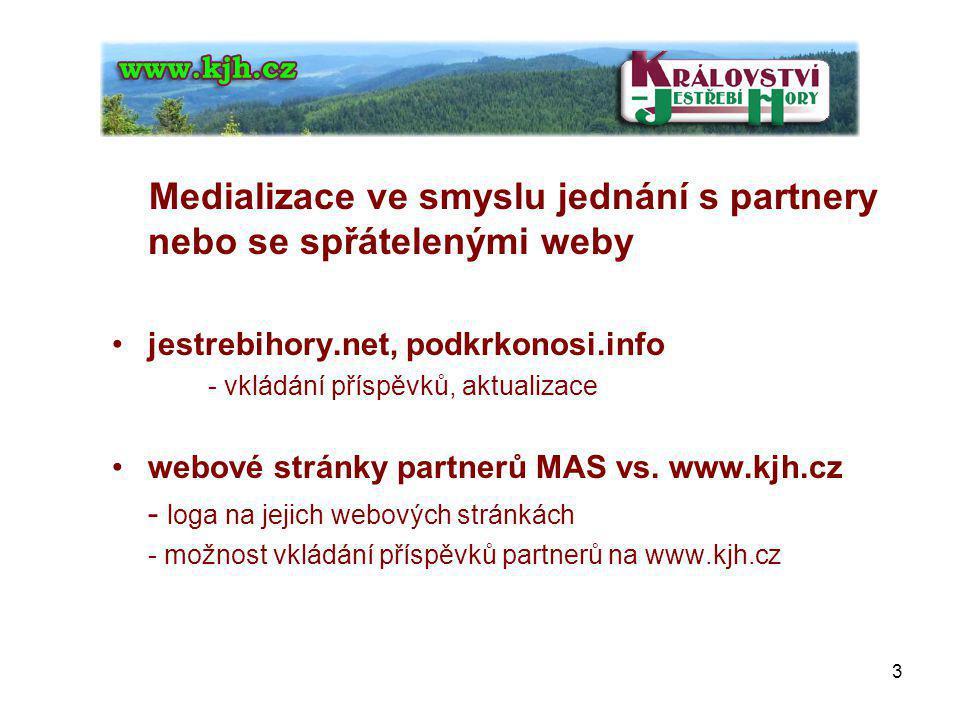 Medializace ve smyslu jednání s partnery nebo se spřátelenými weby jestrebihory.net, podkrkonosi.info - vkládání příspěvků, aktualizace webové stránky partnerů MAS vs.