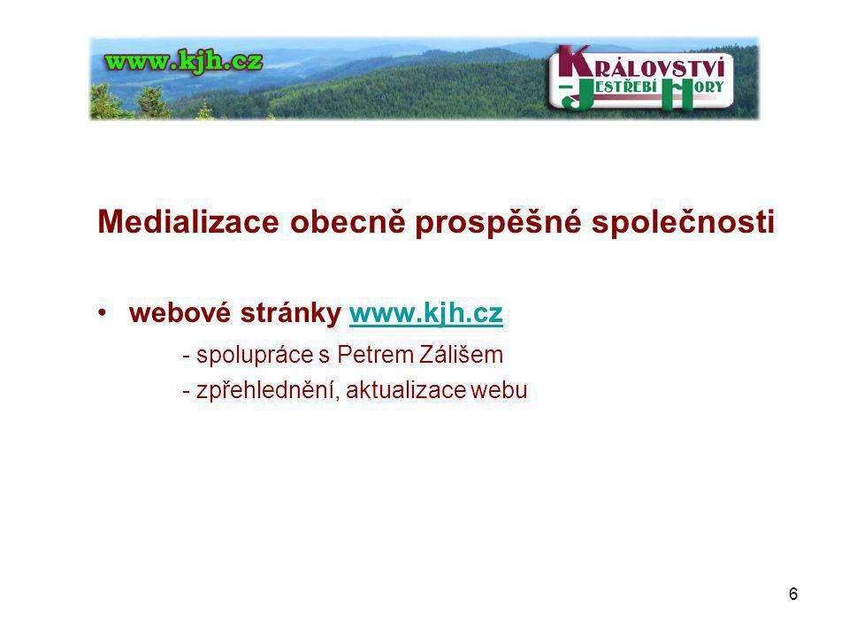 Medializace obecně prospěšné společnosti webové stránky www.kjh.czwww.kjh.cz - spolupráce s Petrem Zálišem - zpřehlednění, aktualizace webu 6