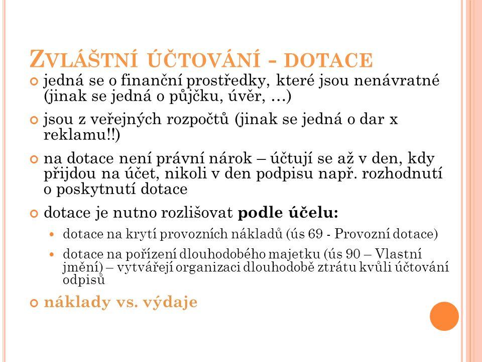 Z VLÁŠTNÍ ÚČTOVÁNÍ - DOTACE jedná se o finanční prostředky, které jsou nenávratné (jinak se jedná o půjčku, úvěr, …) jsou z veřejných rozpočtů (jinak