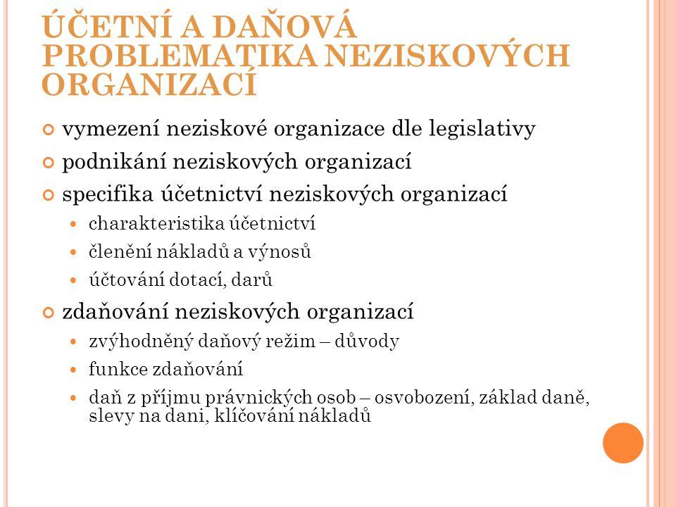 ÚČETNÍ A DAŇOVÁ PROBLEMATIKA NEZISKOVÝCH ORGANIZACÍ vymezení neziskové organizace dle legislativy podnikání neziskových organizací specifika účetnictv