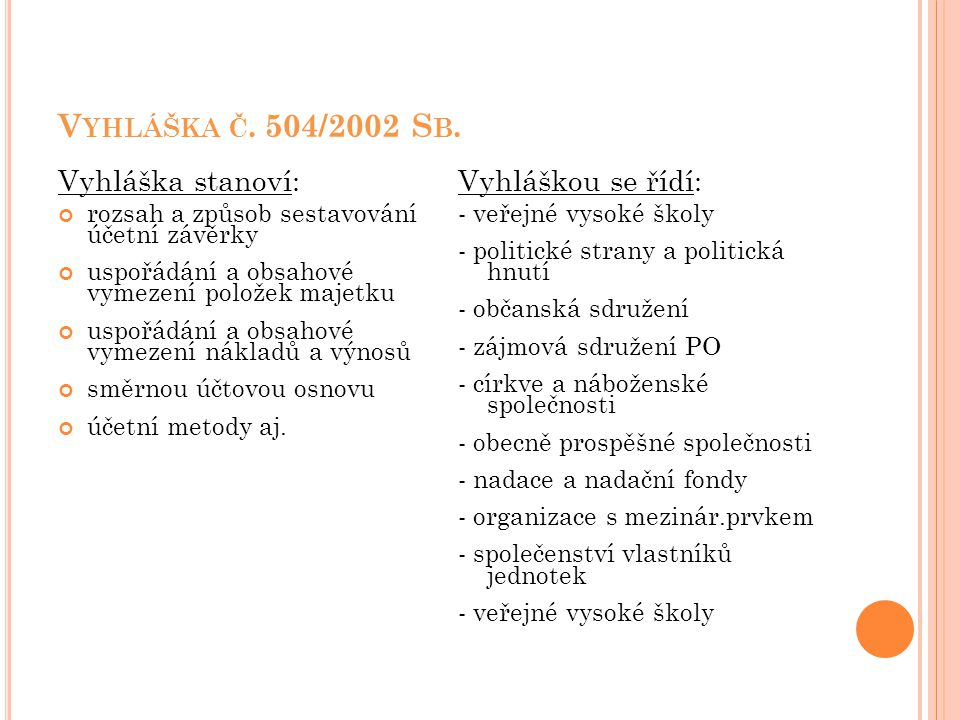 V YHLÁŠKA Č. 504/2002 S B. Vyhláška stanoví: rozsah a způsob sestavování účetní závěrky uspořádání a obsahové vymezení položek majetku uspořádání a ob