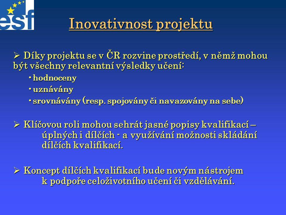 Inovativnost projektu  Díky projektu se v ČR rozvine prostředí, v němž mohou být všechny relevantní výsledky učení: hodnocenyhodnoceny uznáványuznává