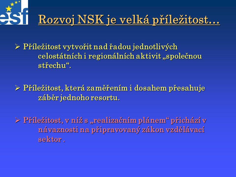 """Rozvoj NSK je velká příležitost…  Příležitost vytvořit nad řadou jednotlivých celostátních i regionálních aktivit """"společnou střechu"""".  Příležitost,"""