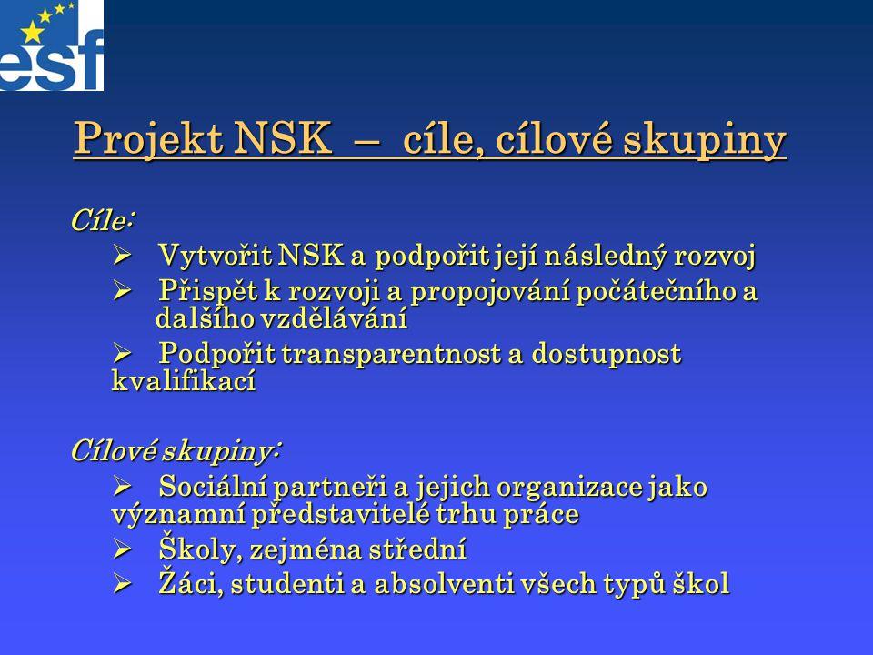 Projekt NSK – cíle, cílové skupiny Cíle:  Vytvořit NSK a podpořit její následný rozvoj  Přispět k rozvoji a propojování počátečního a dalšího vzdělá