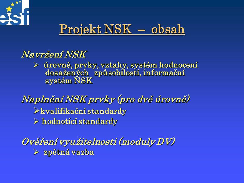 Projekt NSK – obsah Navržení NSK  úrovně, prvky, vztahy, systém hodnocení dosažených způsobilostí, informační systém NSK Naplnění NSK prvky (pro dvě