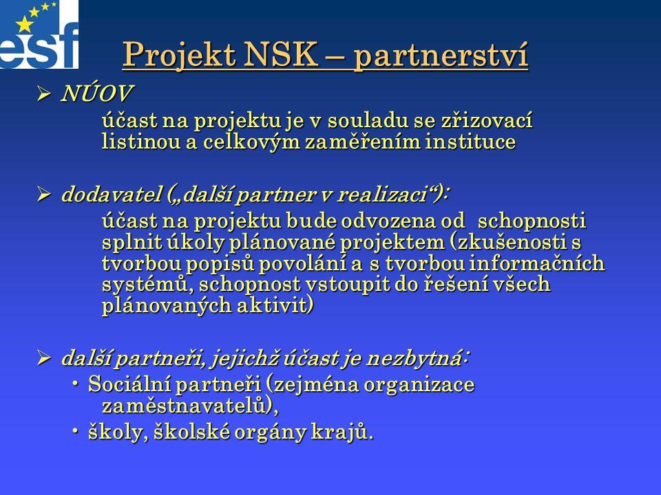 """Projekt NSK – partnerství  NÚOV účast na projektu je v souladu se zřizovací listinou a celkovým zaměřením instituce  dodavatel (""""další partner v rea"""