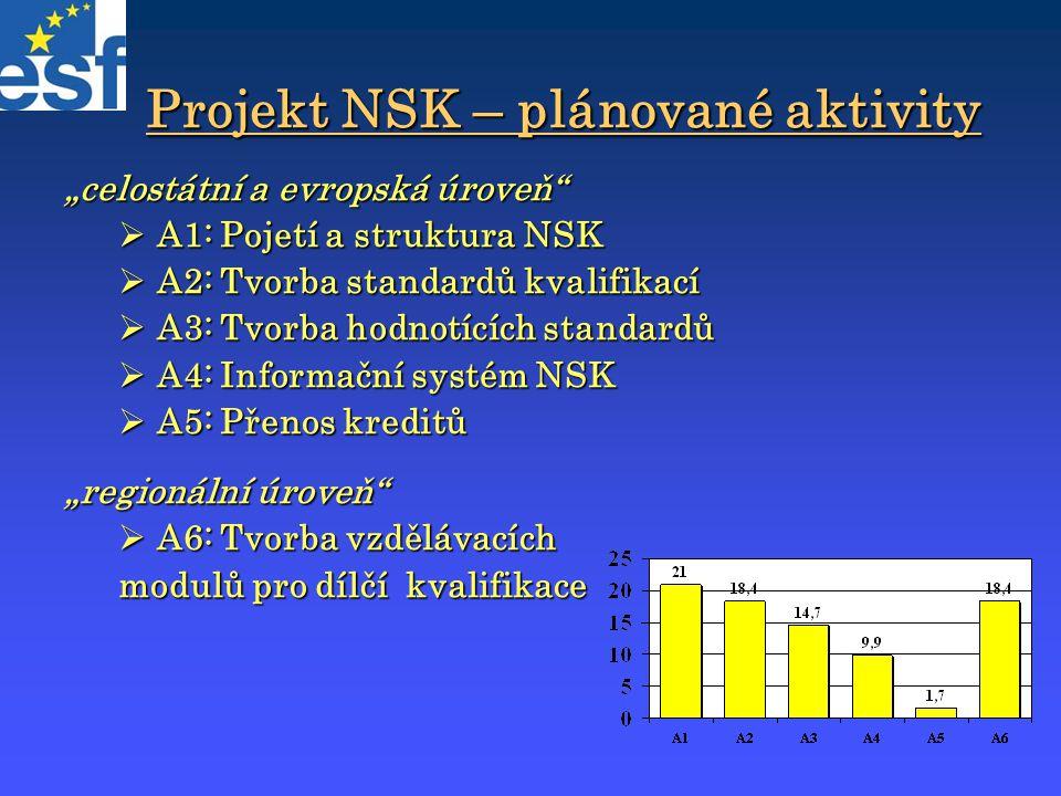 """Projekt NSK – plánované aktivity """"celostátní a evropská úroveň""""  A1: Pojetí a struktura NSK  A2: Tvorba standardů kvalifikací  A3: Tvorba hodnotící"""