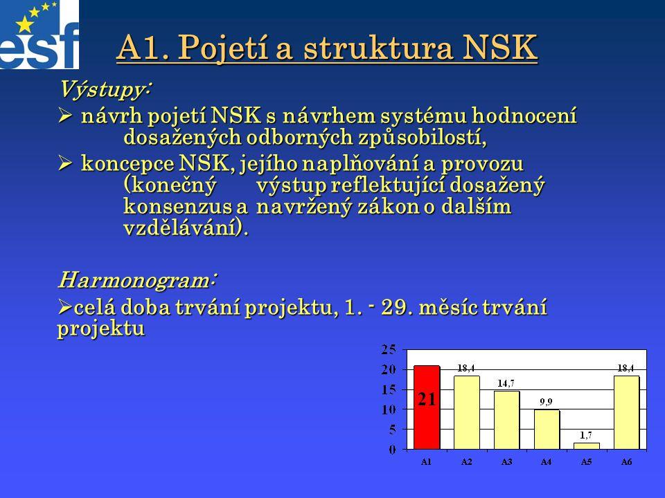 A1. Pojetí a struktura NSK Výstupy:  návrh pojetí NSK s návrhem systému hodnocení dosažených odborných způsobilostí,  koncepce NSK, jejího naplňován