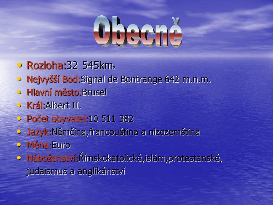 Rozloha:32 545km 2 Rozloha:32 545km 2 Nejvyšší Bod:Signal de Bontrange 642 m.n.m. Nejvyšší Bod:Signal de Bontrange 642 m.n.m. Hlavní město:Brusel Hlav