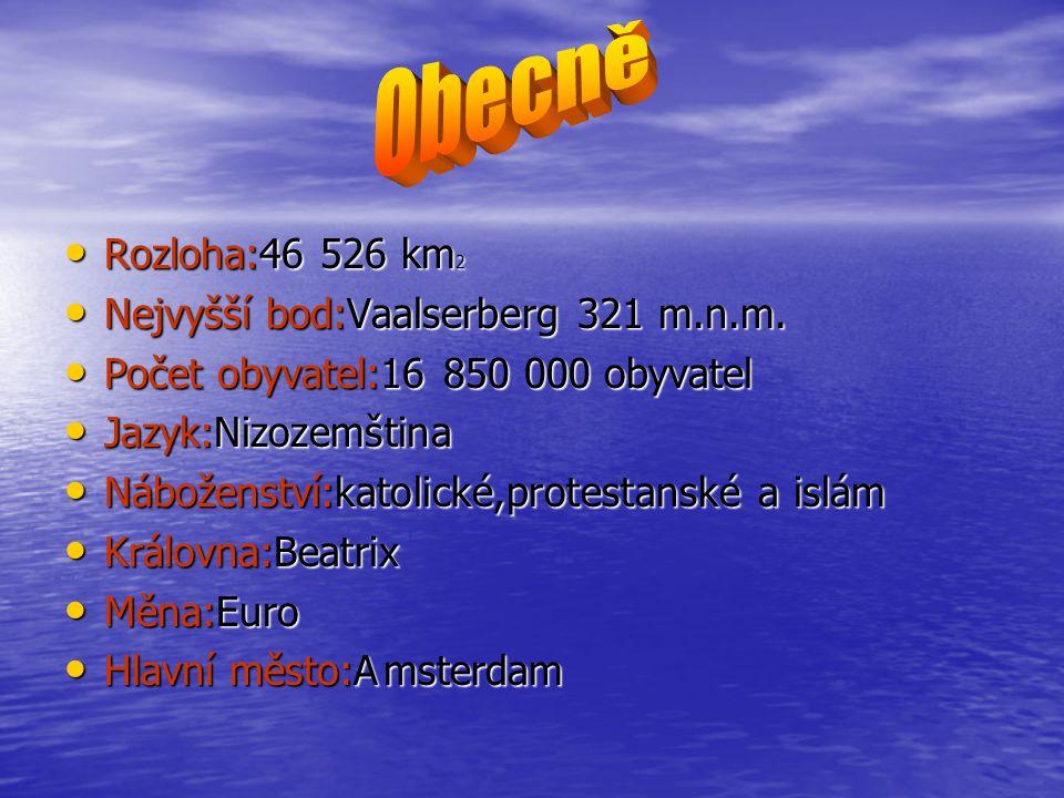 Rozloha:46 526 km 2 Rozloha:46 526 km 2 Nejvyšší bod:Vaalserberg 321 m.n.m. Nejvyšší bod:Vaalserberg 321 m.n.m. Počet obyvatel:16 850 000 obyvatel Poč