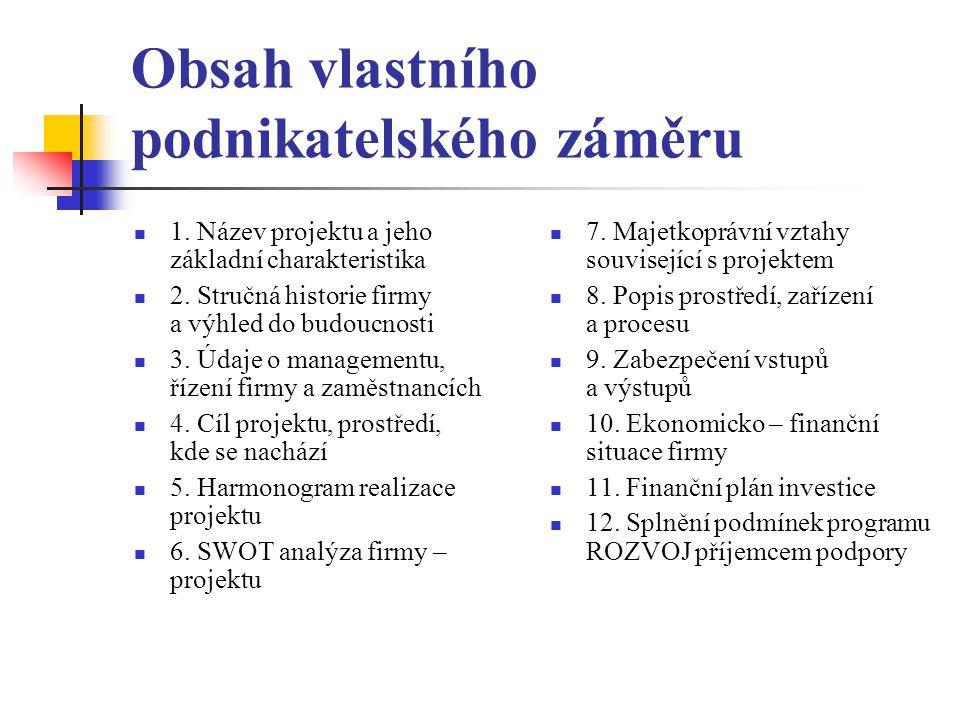 Obsah vlastního podnikatelského záměru 1.Název projektu a jeho základní charakteristika 2.
