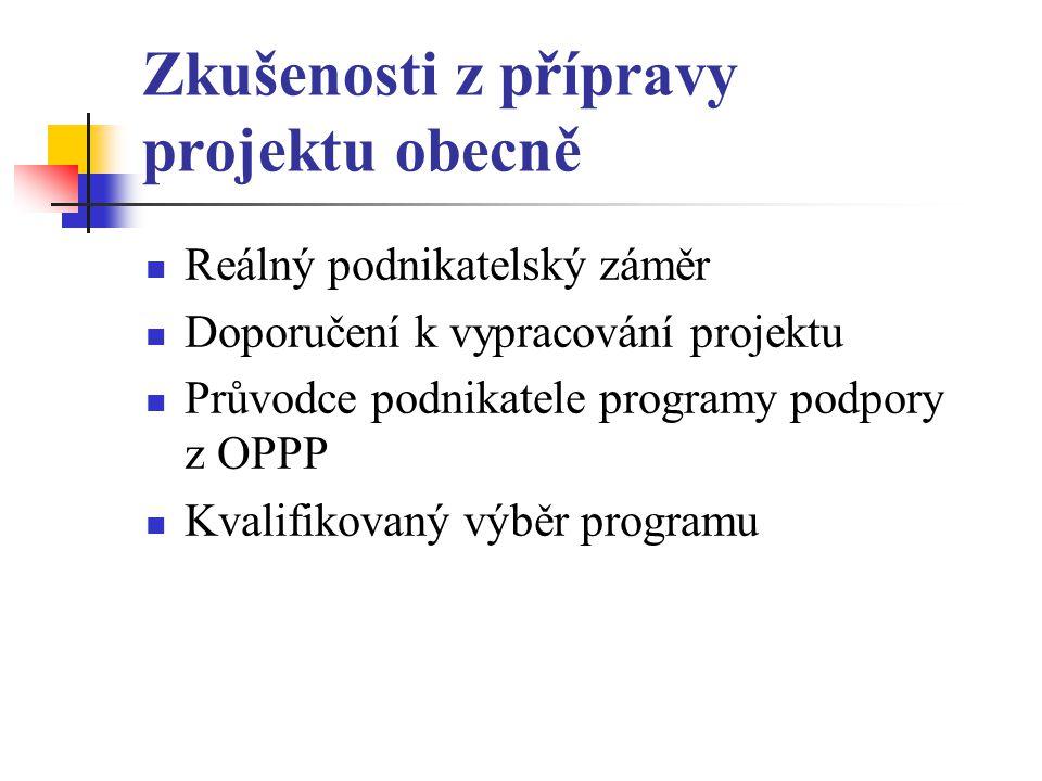 Zkušenosti z přípravy projektu obecně Reálný podnikatelský záměr Doporučení k vypracování projektu Průvodce podnikatele programy podpory z OPPP Kvalifikovaný výběr programu