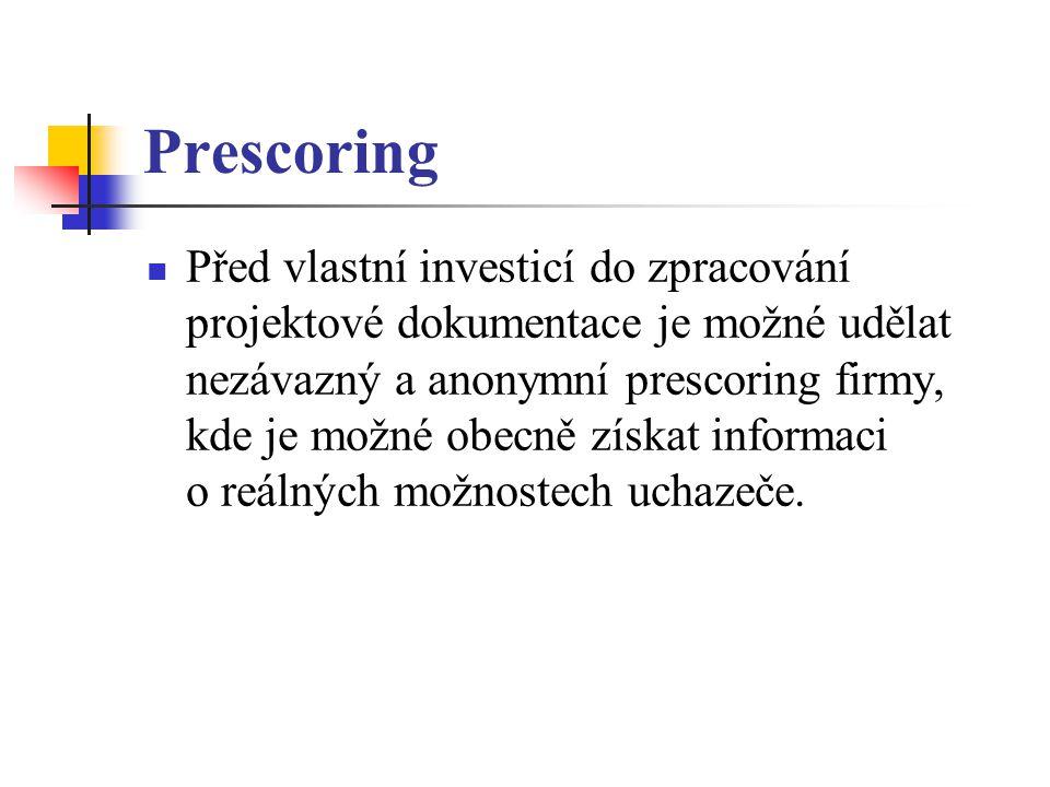 Prescoring Před vlastní investicí do zpracování projektové dokumentace je možné udělat nezávazný a anonymní prescoring firmy, kde je možné obecně získat informaci o reálných možnostech uchazeče.
