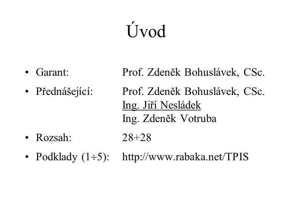 Úvod Garant:Prof. Zdeněk Bohuslávek, CSc. Přednášející:Prof. Zdeněk Bohuslávek, CSc. Ing. Jiří Nesládek Ing. Zdeněk Votruba Rozsah:28+28 Podklady (1 