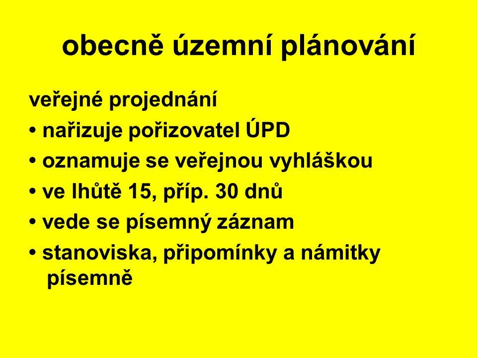 veřejné projednání nařizuje pořizovatel ÚPD oznamuje se veřejnou vyhláškou ve lhůtě 15, příp. 30 dnů vede se písemný záznam stanoviska, připomínky a n