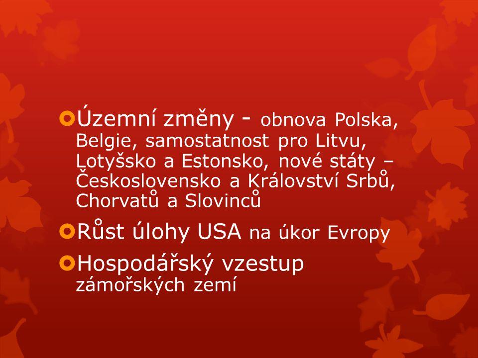  Územní změny - obnova Polska, Belgie, samostatnost pro Litvu, Lotyšsko a Estonsko, nové státy – Československo a Království Srbů, Chorvatů a Slovinc