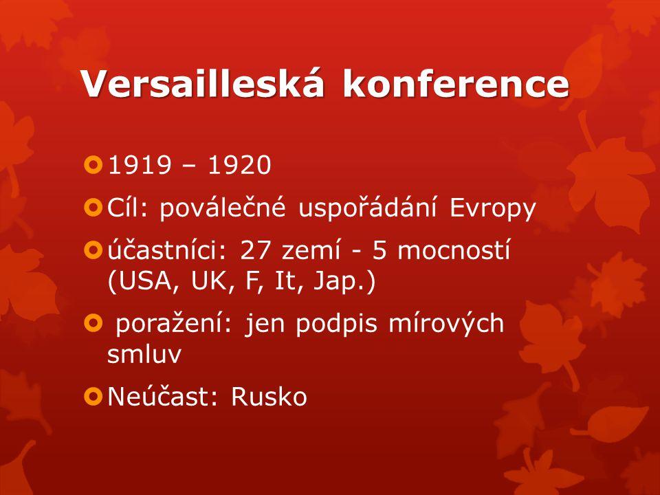Versailleská konference  1919 – 1920  Cíl: poválečné uspořádání Evropy  účastníci: 27 zemí - 5 mocností (USA, UK, F, It, Jap.)  poražení: jen podp