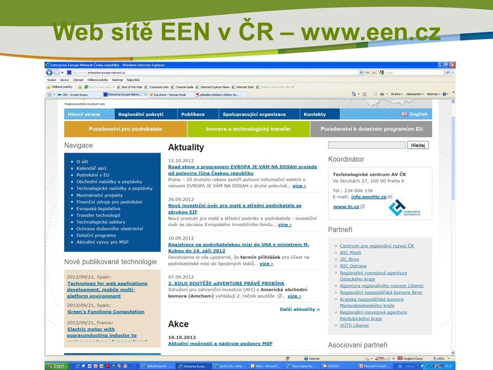 Web sítě EEN v ČR – www.een.cz