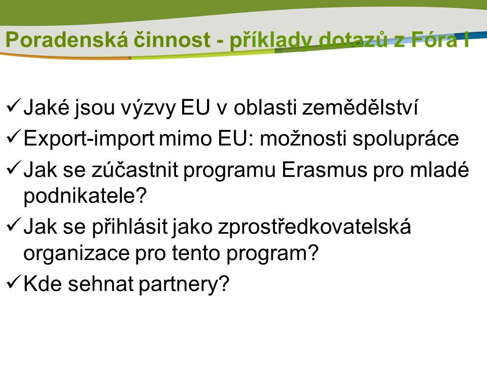 Poradenská činnost - příklady dotazů z Fóra I Jaké jsou výzvy EU v oblasti zemědělství Export-import mimo EU: možnosti spolupráce Jak se zúčastnit pro