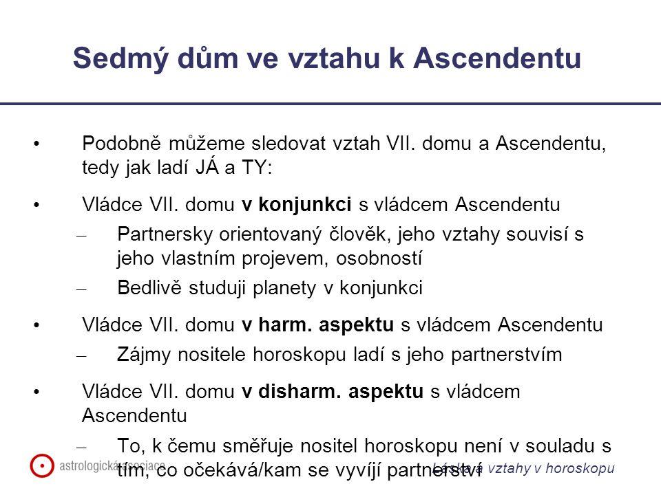 Láska a vztahy v horoskopu Sedmý dům ve vztahu k Ascendentu Podobně můžeme sledovat vztah VII.