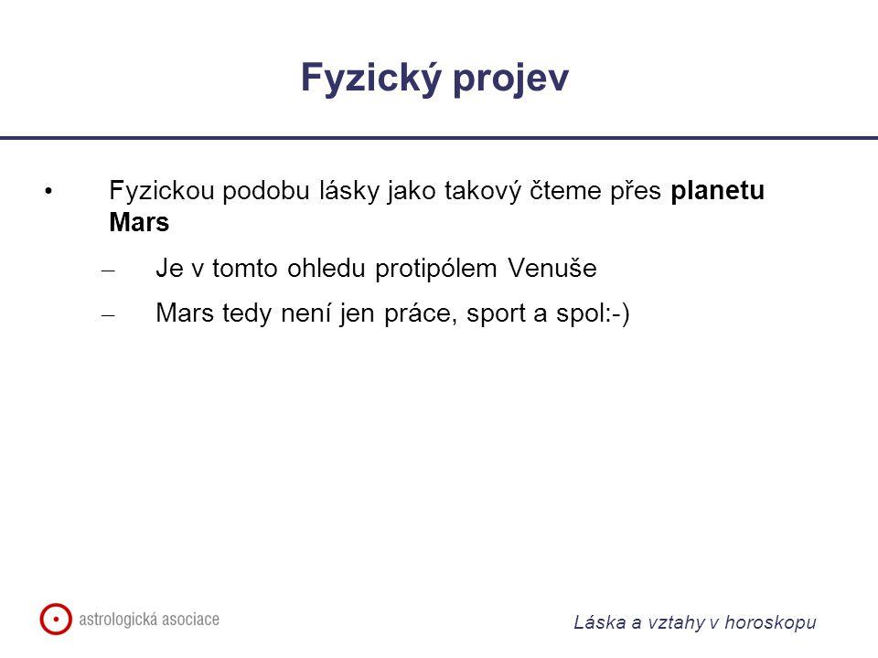 Láska a vztahy v horoskopu Fyzický projev Fyzickou podobu lásky jako takový čteme přes planetu Mars – Je v tomto ohledu protipólem Venuše – Mars tedy není jen práce, sport a spol:-)
