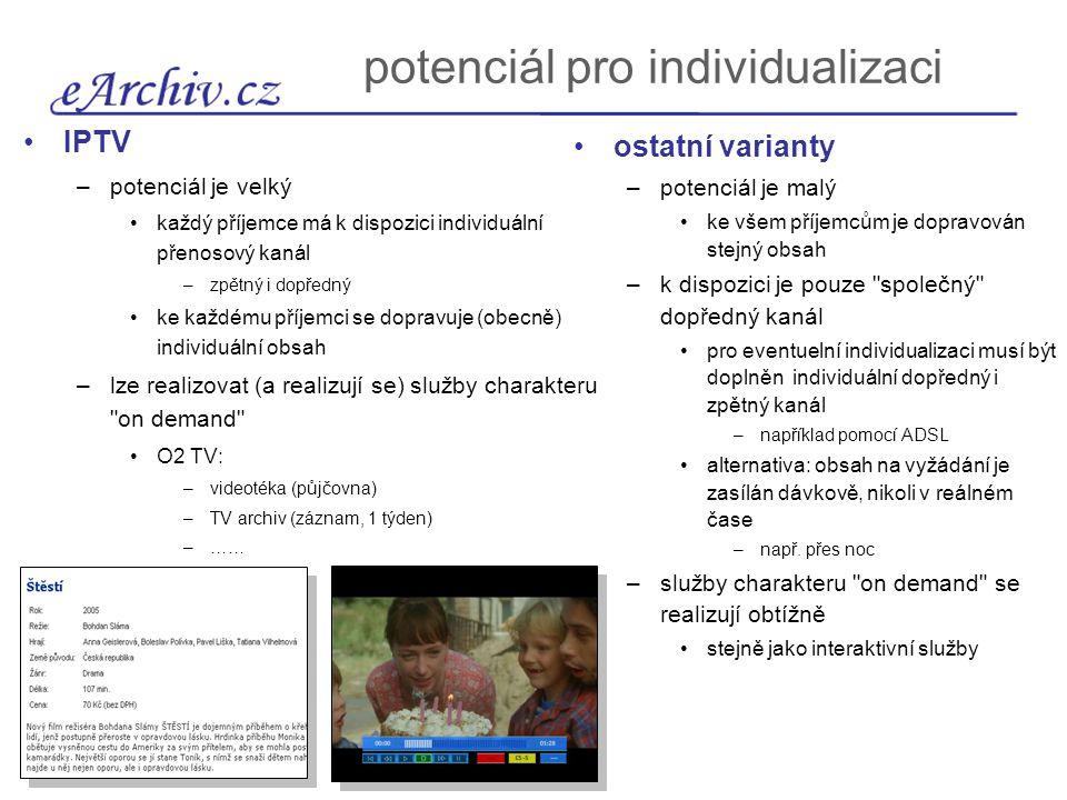 potenciál pro individualizaci IPTV –potenciál je velký každý příjemce má k dispozici individuální přenosový kanál –zpětný i dopředný ke každému příjem