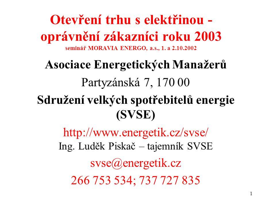 1 Otevření trhu s elektřinou - oprávnění zákazníci roku 2003 seminář MORAVIA ENERGO, a.s., 1.