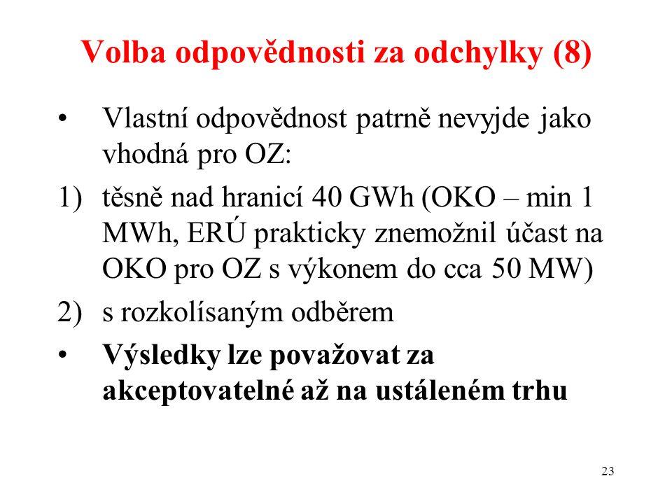 23 Volba odpovědnosti za odchylky (8) Vlastní odpovědnost patrně nevyjde jako vhodná pro OZ: 1)těsně nad hranicí 40 GWh (OKO – min 1 MWh, ERÚ prakticky znemožnil účast na OKO pro OZ s výkonem do cca 50 MW) 2)s rozkolísaným odběrem Výsledky lze považovat za akceptovatelné až na ustáleném trhu