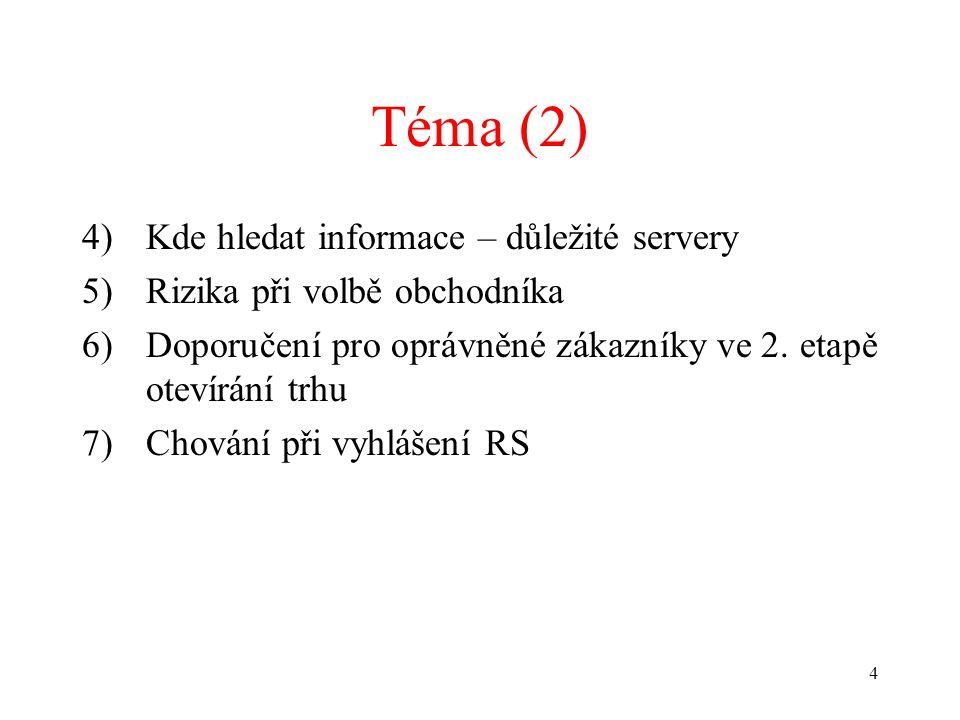4 Téma (2) 4)Kde hledat informace – důležité servery 5)Rizika při volbě obchodníka 6)Doporučení pro oprávněné zákazníky ve 2.