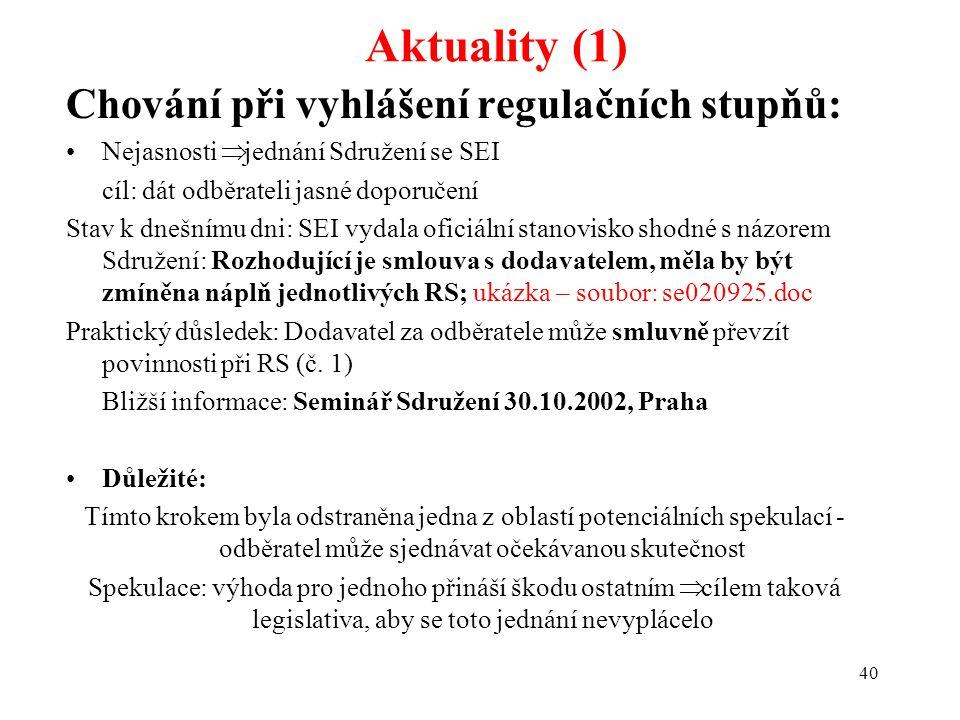40 Aktuality (1) Chování při vyhlášení regulačních stupňů: Nejasnosti  jednání Sdružení se SEI cíl: dát odběrateli jasné doporučení Stav k dnešnímu dni: SEI vydala oficiální stanovisko shodné s názorem Sdružení: Rozhodující je smlouva s dodavatelem, měla by být zmíněna náplň jednotlivých RS; ukázka – soubor: se020925.doc Praktický důsledek: Dodavatel za odběratele může smluvně převzít povinnosti při RS (č.