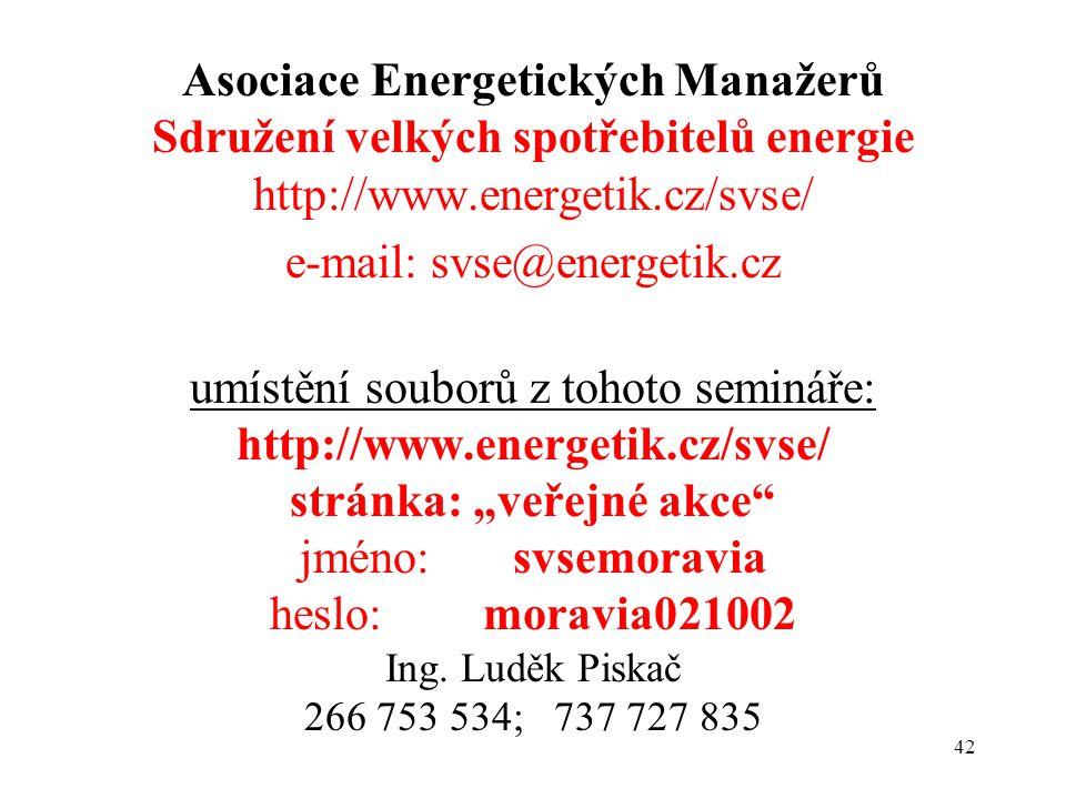 """42 Asociace Energetických Manažerů Sdružení velkých spotřebitelů energie http://www.energetik.cz/svse/ e-mail: svse@energetik.cz umístění souborů z tohoto semináře: http://www.energetik.cz/svse/ stránka: """"veřejné akce jméno: svsemoravia heslo: moravia021002 Ing."""