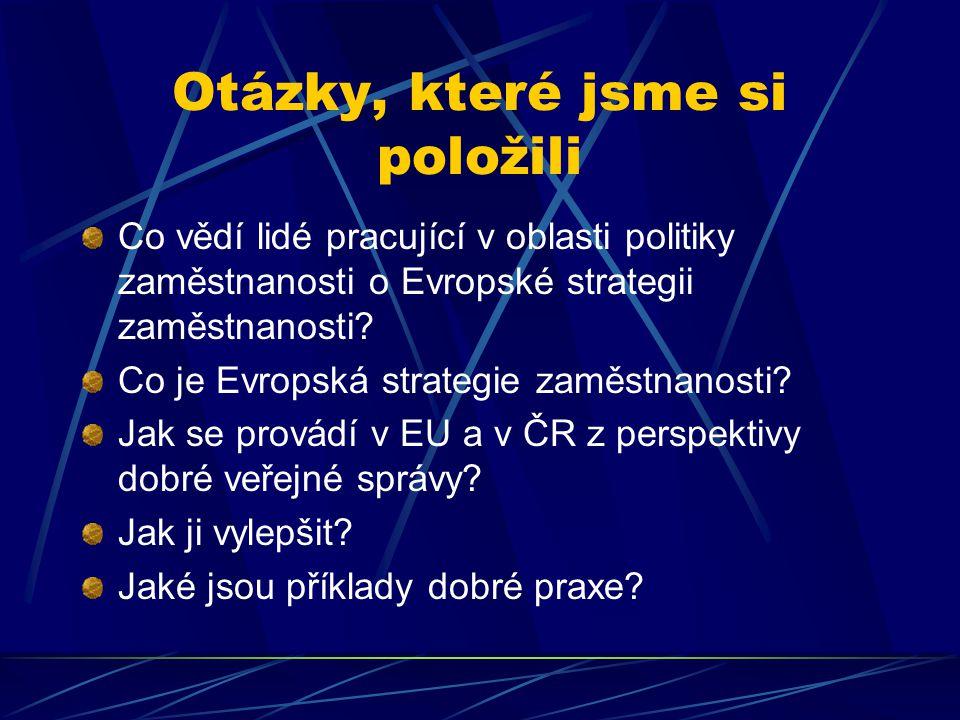 Otázky, které jsme si položili Co vědí lidé pracující v oblasti politiky zaměstnanosti o Evropské strategii zaměstnanosti.