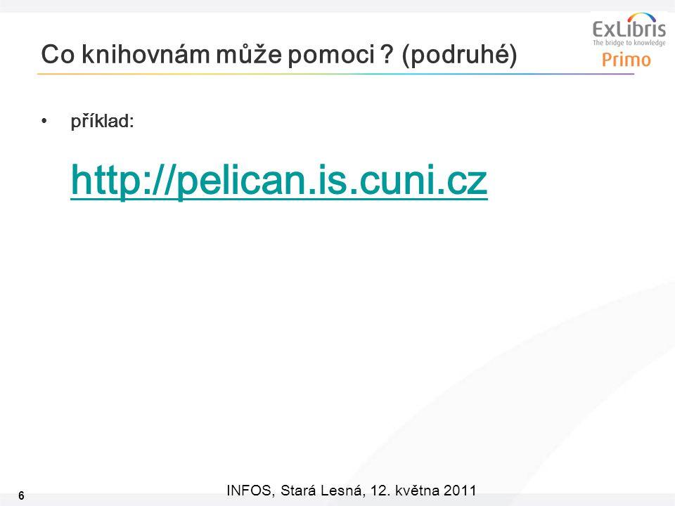 6 INFOS, Stará Lesná, 12.května 2011 Co knihovnám může pomoci .