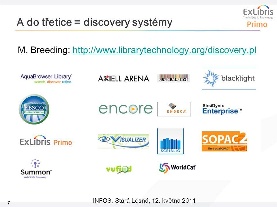 7 INFOS, Stará Lesná, 12.května 2011 A do třetice = discovery systémy M.