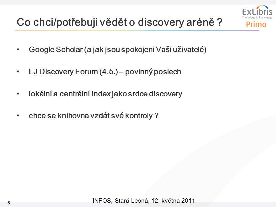 8 INFOS, Stará Lesná, 12.května 2011 Co chci/potřebuji vědět o discovery aréně .