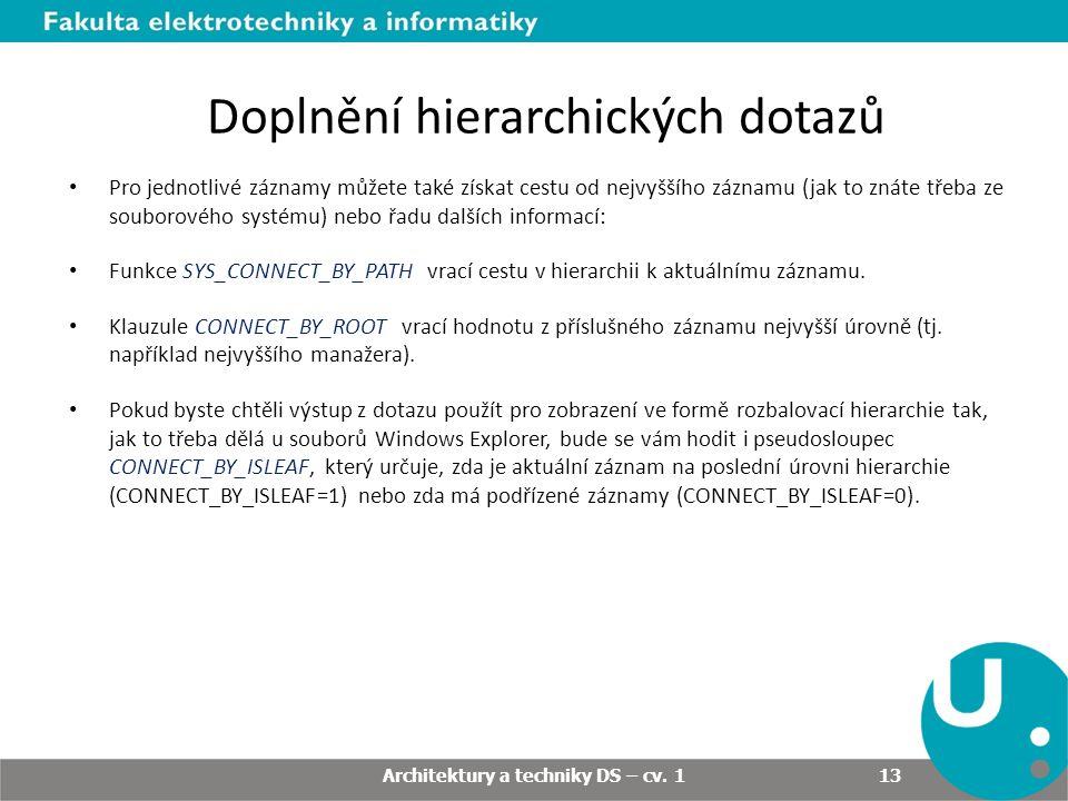 Doplnění hierarchických dotazů Pro jednotlivé záznamy můžete také získat cestu od nejvyššího záznamu (jak to znáte třeba ze souborového systému) nebo řadu dalších informací: Funkce SYS_CONNECT_BY_PATH vrací cestu v hierarchii k aktuálnímu záznamu.
