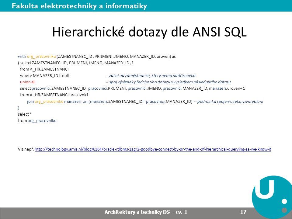 Hierarchické dotazy dle ANSI SQL with org_pracovniku (ZAMESTNANEC_ID, PRIJMENI, JMENO, MANAZER_ID, uroven) as ( select ZAMESTNANEC_ID, PRIJMENI, JMENO, MANAZER_ID, 1 from A_HR.ZAMESTNANCI where MANAZER_ID is null-- začni od zaměstnance, který nemá nadřízeného union all-- spoj výsledek předchozího dotazu s výsledkem následujícího dotazu select pracovnici.ZAMESTNANEC_ID, pracovnici.PRIJMENI, pracovnici.JMENO, pracovnici.MANAZER_ID, manazeri.uroven+ 1 from A_HR.ZAMESTNANCI pracovnici join org_pracovniku manazeri on (manazeri.ZAMESTNANEC_ID = pracovnici.MANAZER_ID) -- podmínka spojení a rekurzívní volání ) select * from org_pracovniku Viz např.